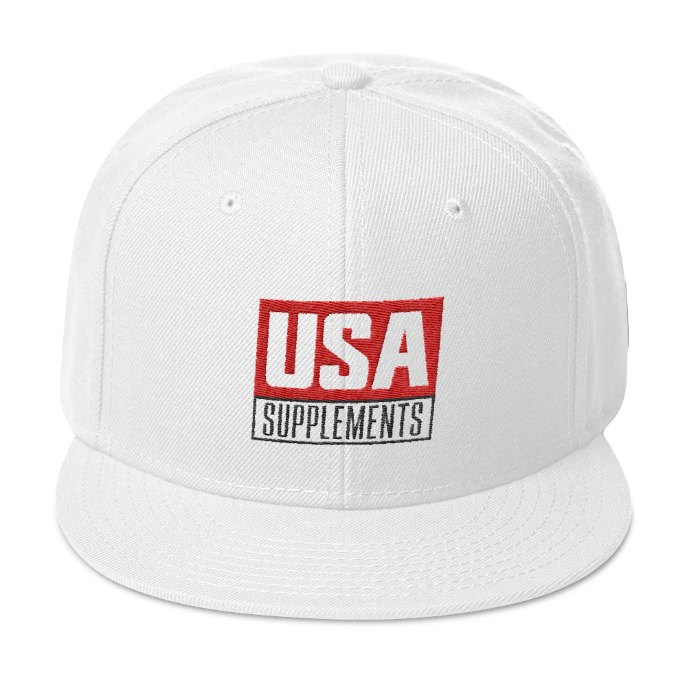 USA Supplements White Snapback Hat - U.S.A. SUPPLEMENTS