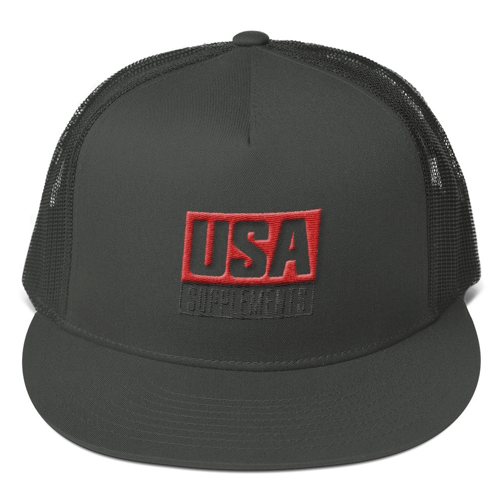 USA Supplements Mesh Back Snapback Trucker Hat - U.S.A. SUPPLEMENTS