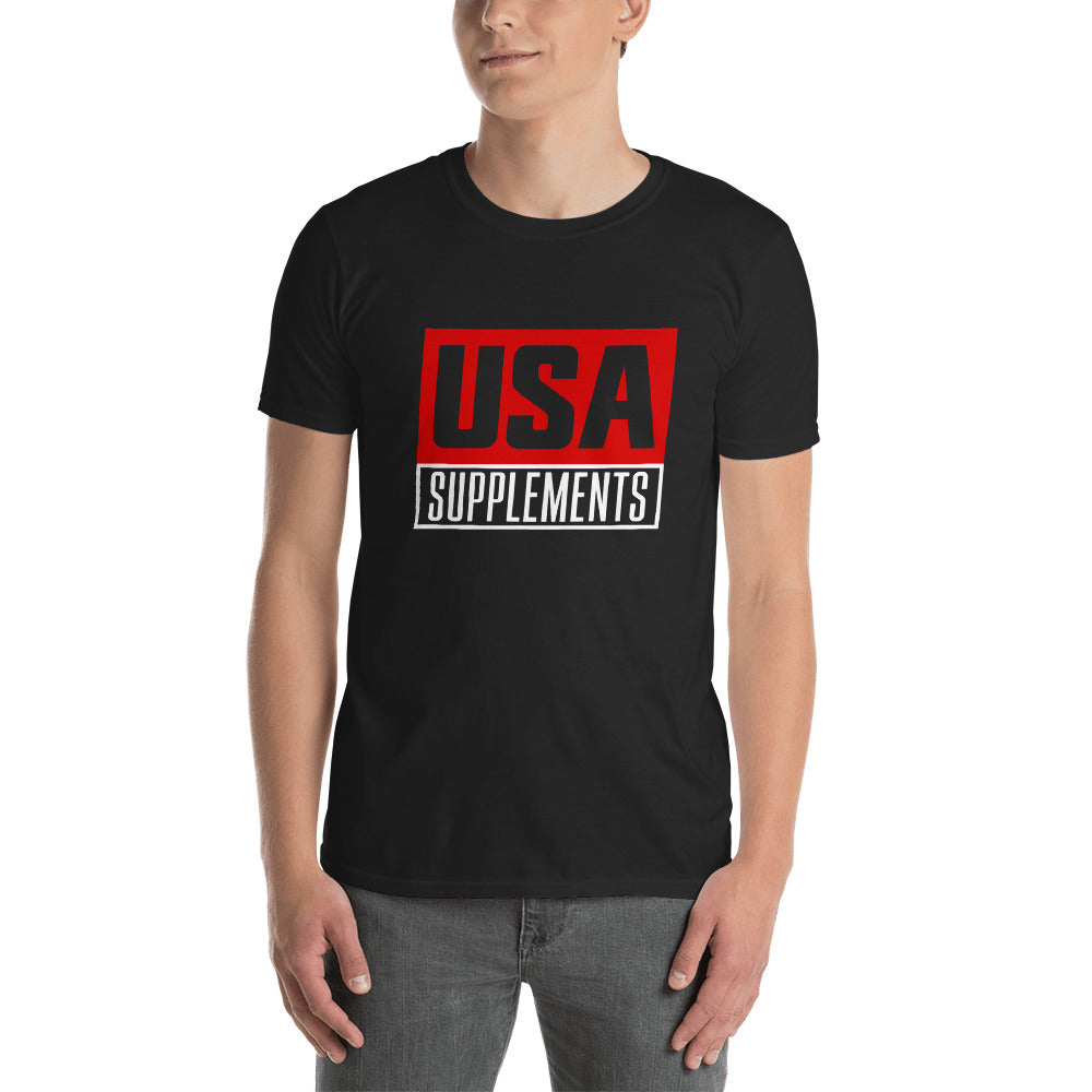 USA Supplements Black Short-Sleeve Unisex T-Shirt - U.S.A. SUPPLEMENTS