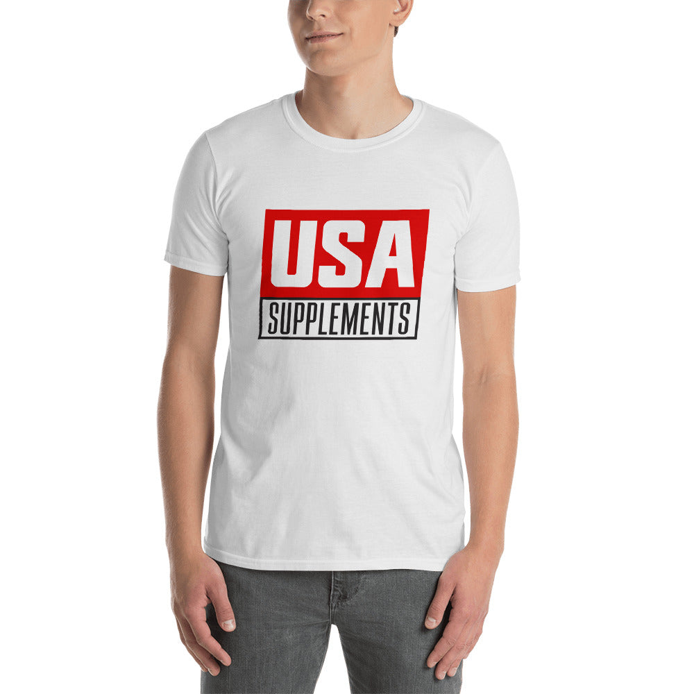 USA Supplements White Short-Sleeve Unisex T-Shirt - U.S.A. SUPPLEMENTS