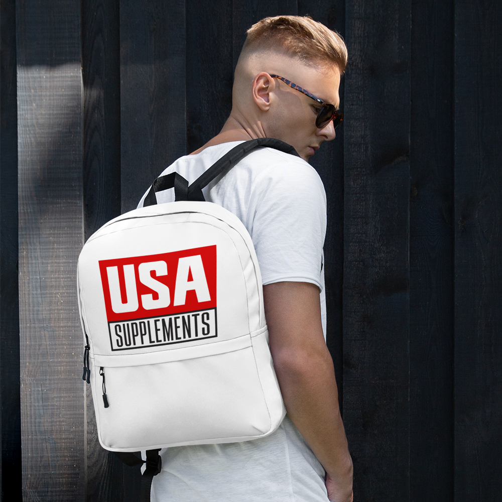 USA Supplements White Backpack - U.S.A. SUPPLEMENTS