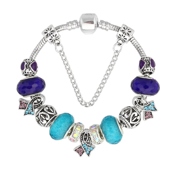 NEW ARRIVAL Purple and Skyblue Charm Bracelet