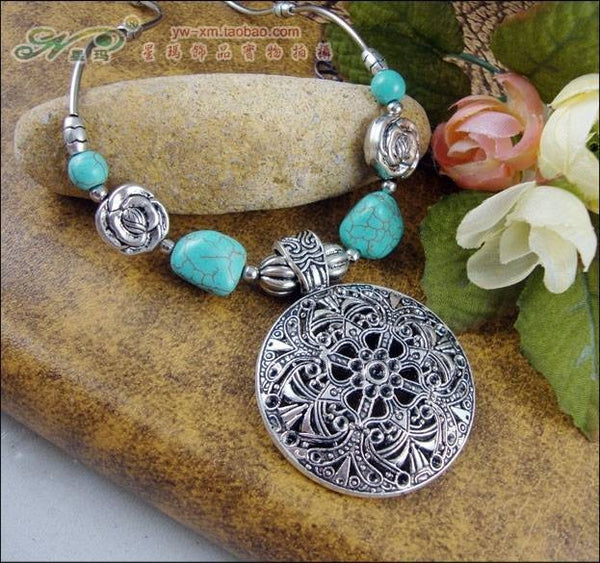 New Tibetan Turquoise Hollow Carved Flower Necklace