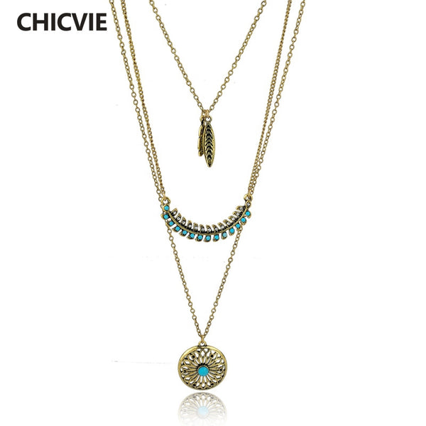 Long Bohemian Gold plated Necklace & Pendant for Women Turquoise Jewelry