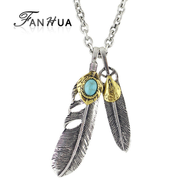 Indian Jewelry Antique Silver Chain Feather Pendant Necklace with Turquoise