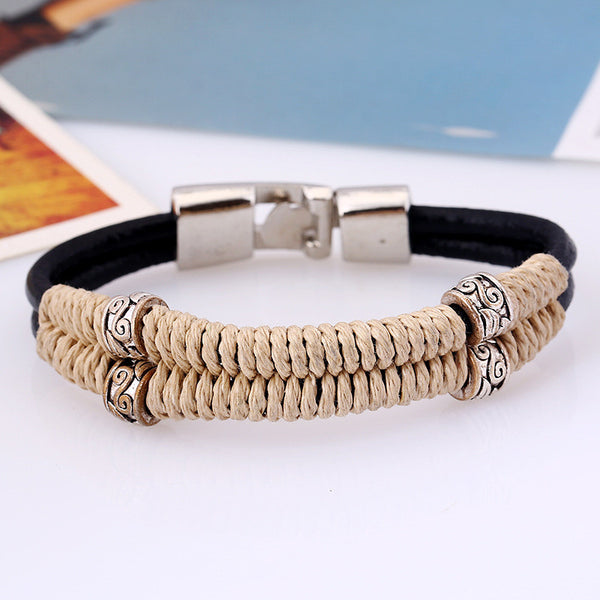 Retro Handmade Bracelet High Quality Cowhide Leather Bracelet  Jewelry
