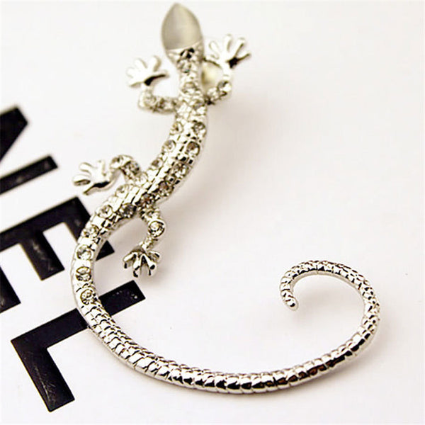 2016 New Arrival Rhinestone Rose Gold Gecko Lizards Stud Earrings