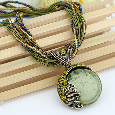 Vintage Opal Stone Pendant Necklace For Women