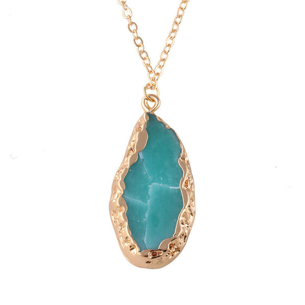 Natural Stone Water Drop Pendant Crystal Necklace