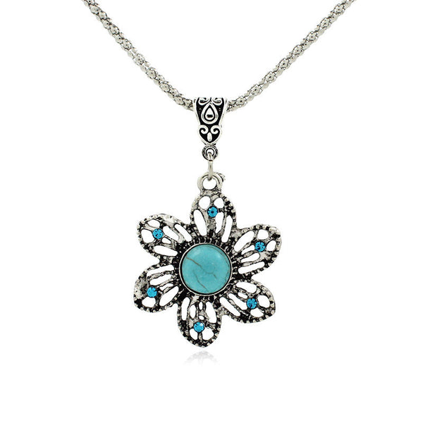 Retro Fine Bohemian Sunflower Turquoise  Pendant on Chain Necklace
