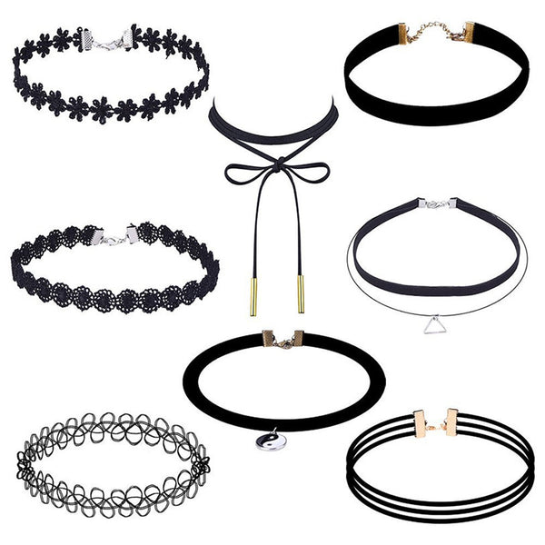Superior 8 Pieces Choker Set Classic Gothic Women