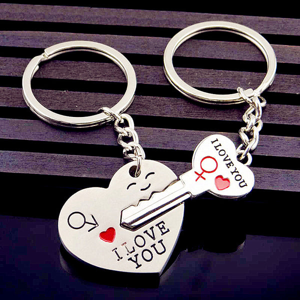 Fashion Couple Keychain Silver Tone Love Heart Key