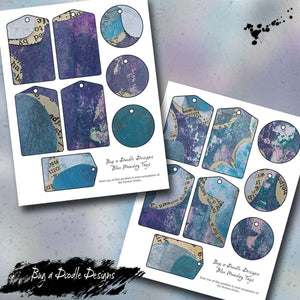 Blue Monday Collage Printable Tag Sheets - Bug a Doodle Designs