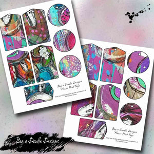 Floral Collage Printable Tag Sheets - Bug a Doodle Designs