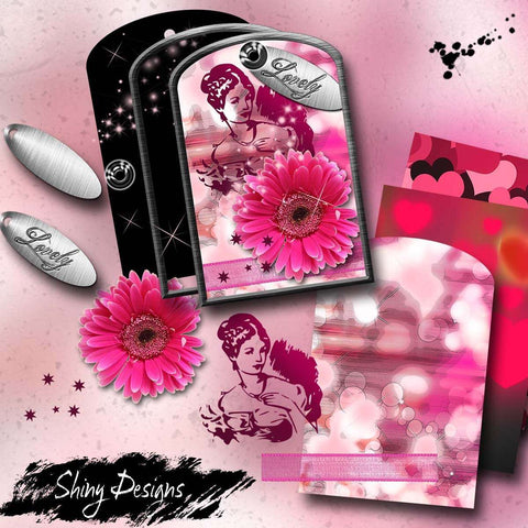 Lovely Digital Printable Tag Kit for Altered Art with Bonus Digital Elements