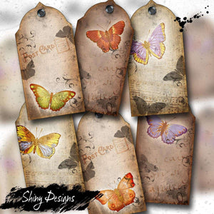 Vintage Butterfly Digital Collage Tag Sheet, Printable Gift Tags, Digital Download