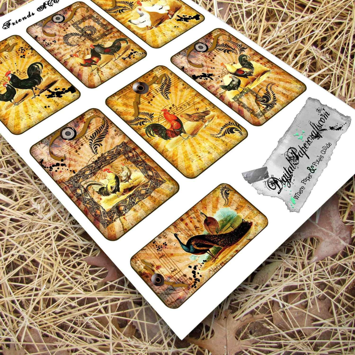 French Country Chicken Printable ATC Cards, Journaling Cards