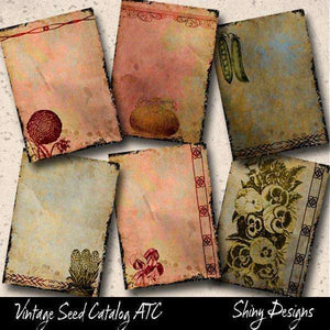 Printable Journaling Cards, Vintage Seed Catalog Digital Collage Sheet
