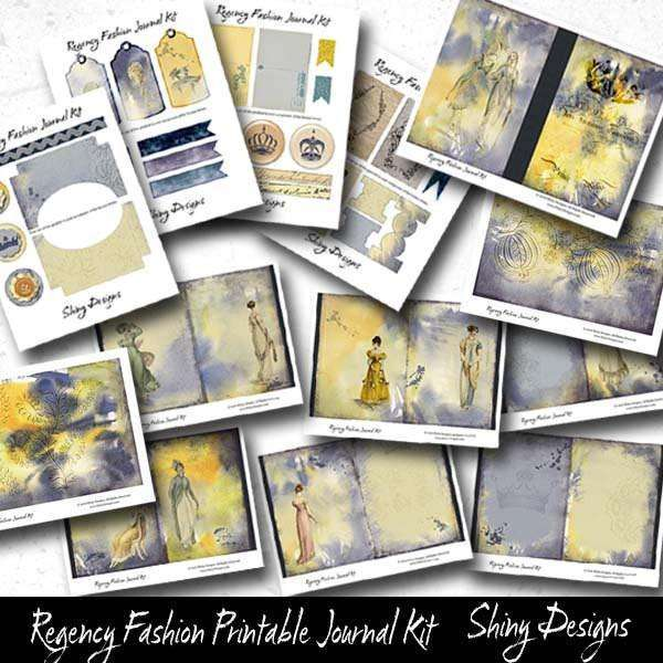 Printable Journal Pages, Regency Fashion Inspired Digital Journal Kit