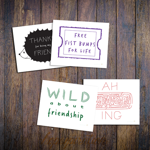 Friendship cards, mockup, multicolour designs
