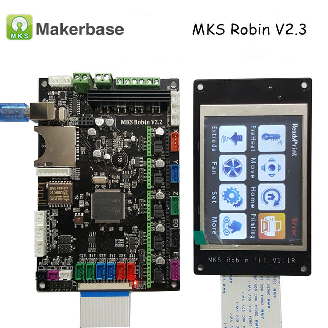 "MKS Robin STM32 32-bit Controller with 3.2"" TFT Touch Screen Display +5 A4988 Stepper Drivers - Digitmakers.ca"