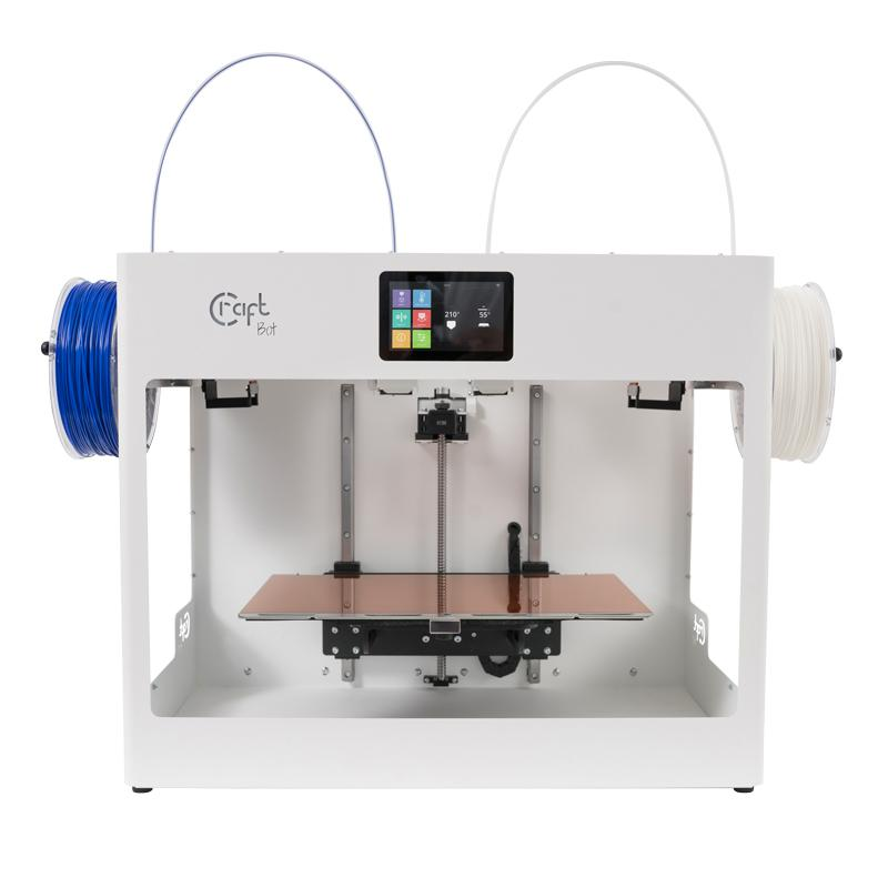 Craftbot Flow Generation IDEX 3D Printer with build volume 425 x 250 x 250 mm and Direct drive independent dual extruder technology is now available for 3D Printing Canada community at Digitmakers.ca