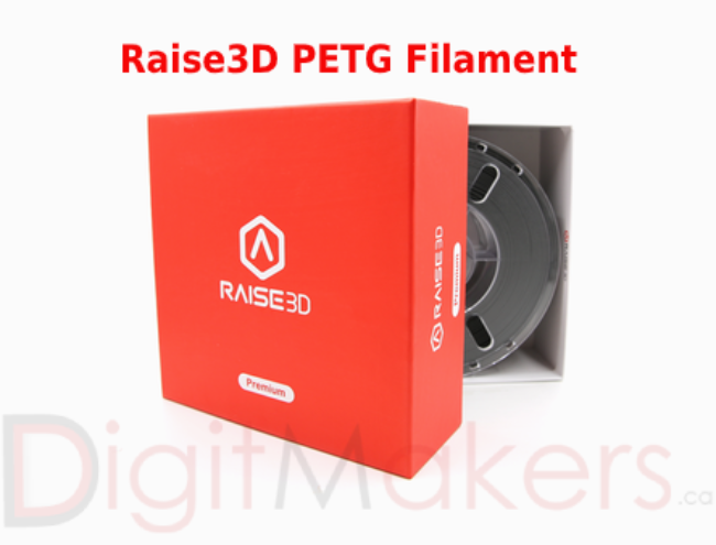 Raise3D Premium PETG Filament Black 1.75mm 1kg Spool - Digitmakers.ca