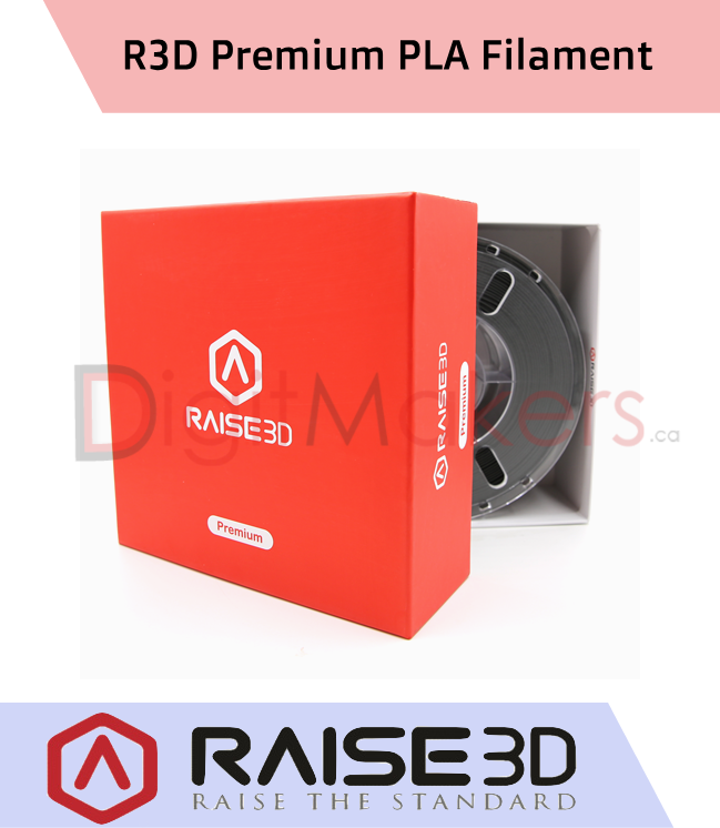 Raise3D Premium PLA Filament 1.75mm 1kg Spool - Digitmakers.ca providing 3d printers, 3d scanners, 3d filaments, 3d printing material , 3d resin , 3d parts , 3d printing services