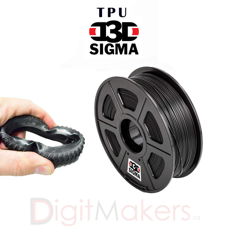 D3D Sigma TPU Flexible Filament 1.75mm-500g Spool (5 Colors) - Digitmakers.ca providing 3d printers, 3d scanners, 3d filaments, 3d printing material , 3d resin , 3d parts , 3d printing services