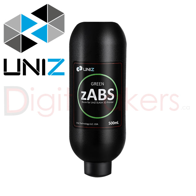 UNIZ zABS Resin 500ml - Various Colors - Digitmakers.ca providing 3d printers, 3d scanners, 3d filaments, 3d printing material , 3d resin , 3d parts , 3d printing services