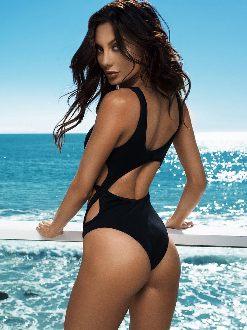 Black one piece bikini with side torsade and medium coverage bottom