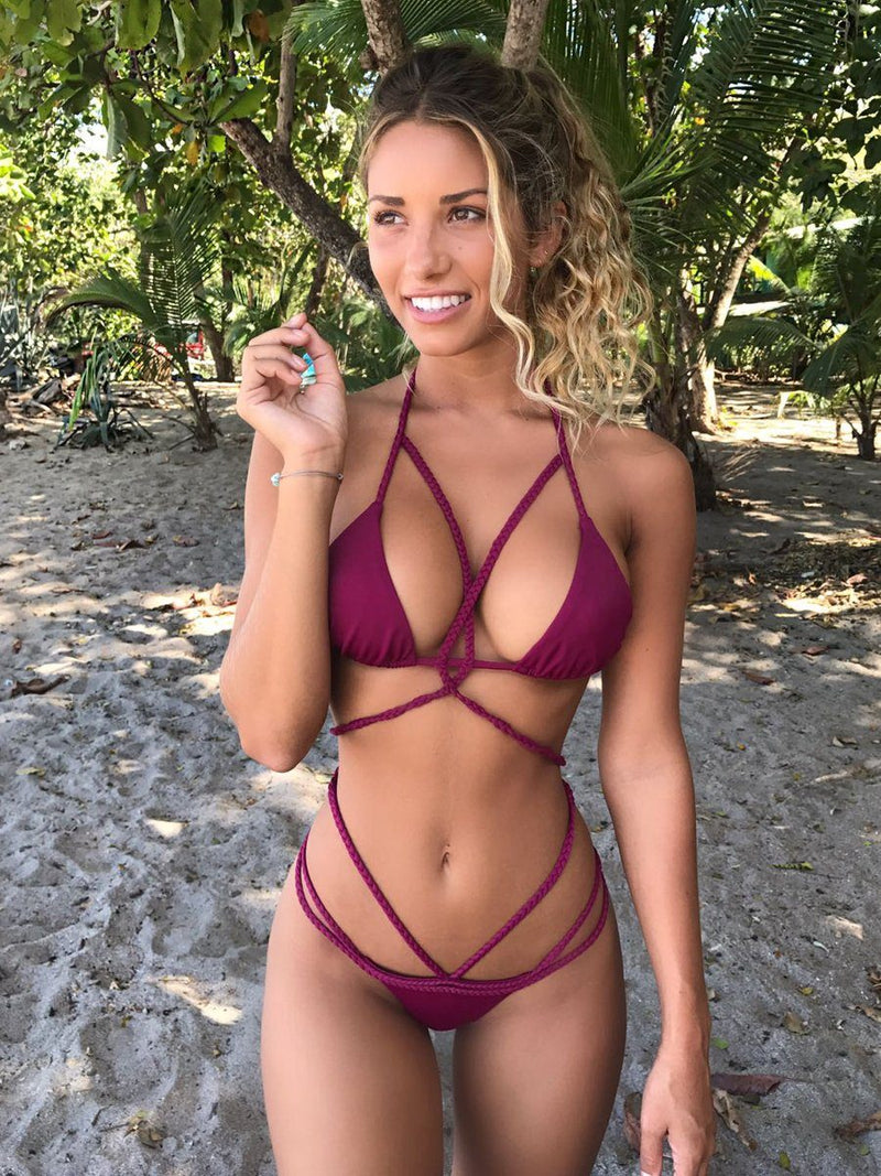 The Ava bikini burgundy set from plumeria swimwear. Shop this handmade bikini set with Crispy Citron. We offer free shipping and easy returns when you shop with us