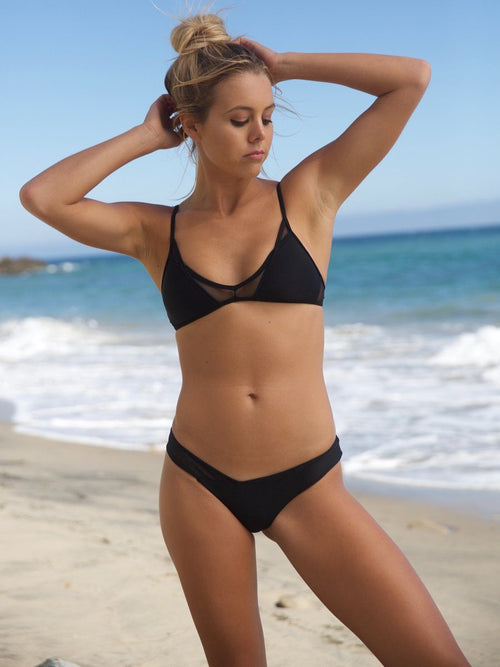 Low cut racerback bikini top that give you a sporty look. We offer free shipping.