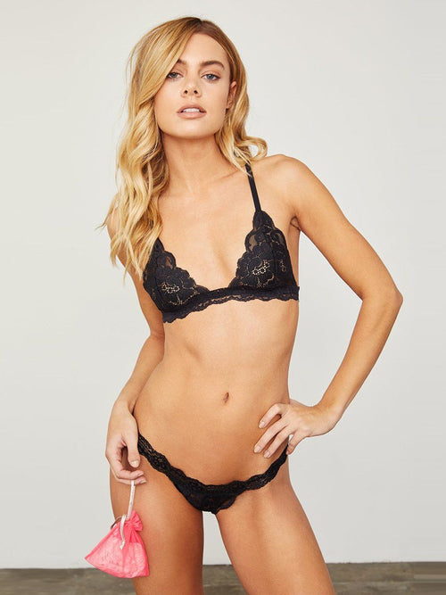 Soft stretch lace string panty in black. Free shipping and easy returns when you shop with Crispy Citron