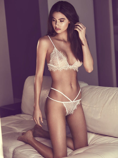 White lace lingerie set. Free shipping and easy returns