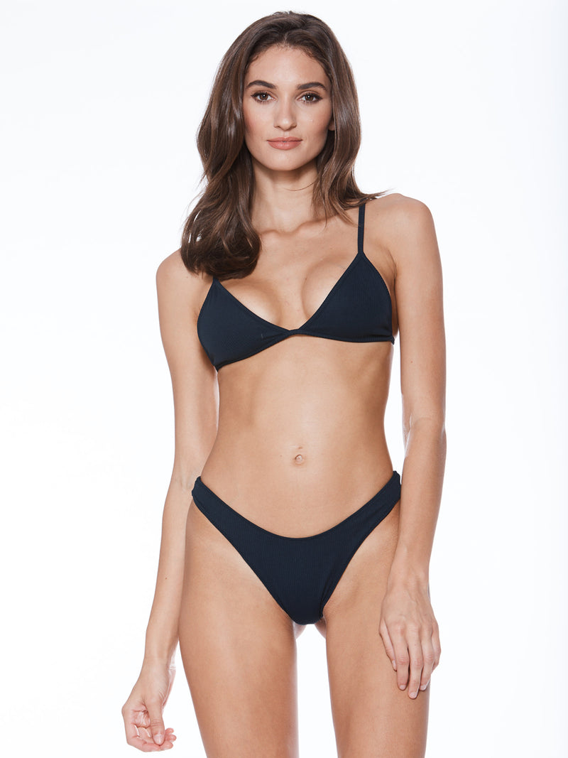 Simple and minimalist triangle bikini top in black. Free shipping and easy returns