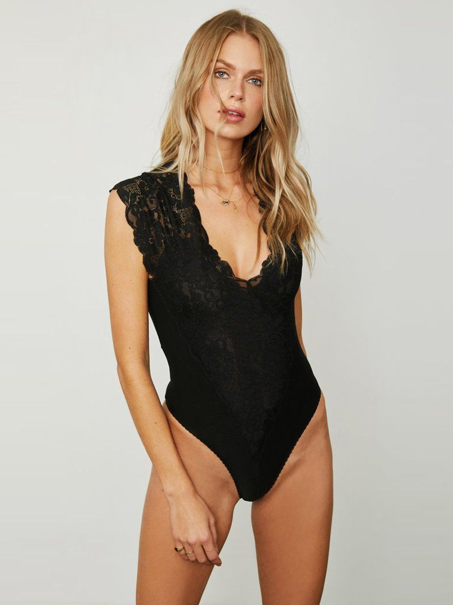 Reversible lace bodysuit. It features a deep v in the front and back. Free shipping and easy returns