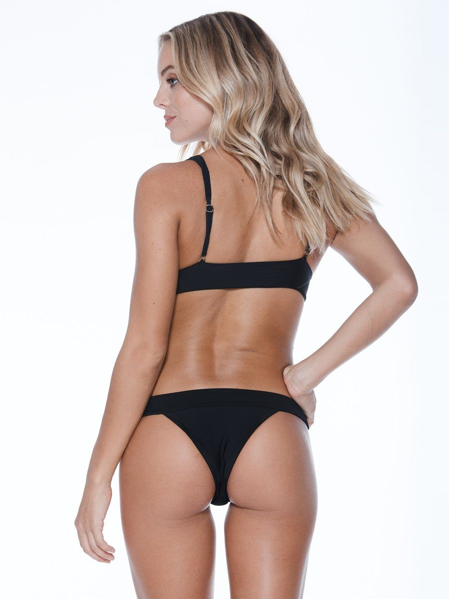 Low rise bikini bottom in black with thick bands. Free shipping and easy returns when ou shop with Crispy Citron