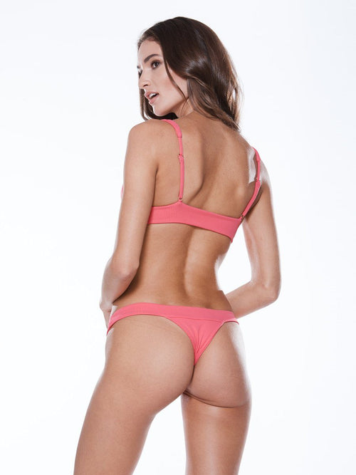 Cheeky bikini bottom in rosie rib with a low rise cute and thick bands. Free shipping and easy returns at Crispy Citron