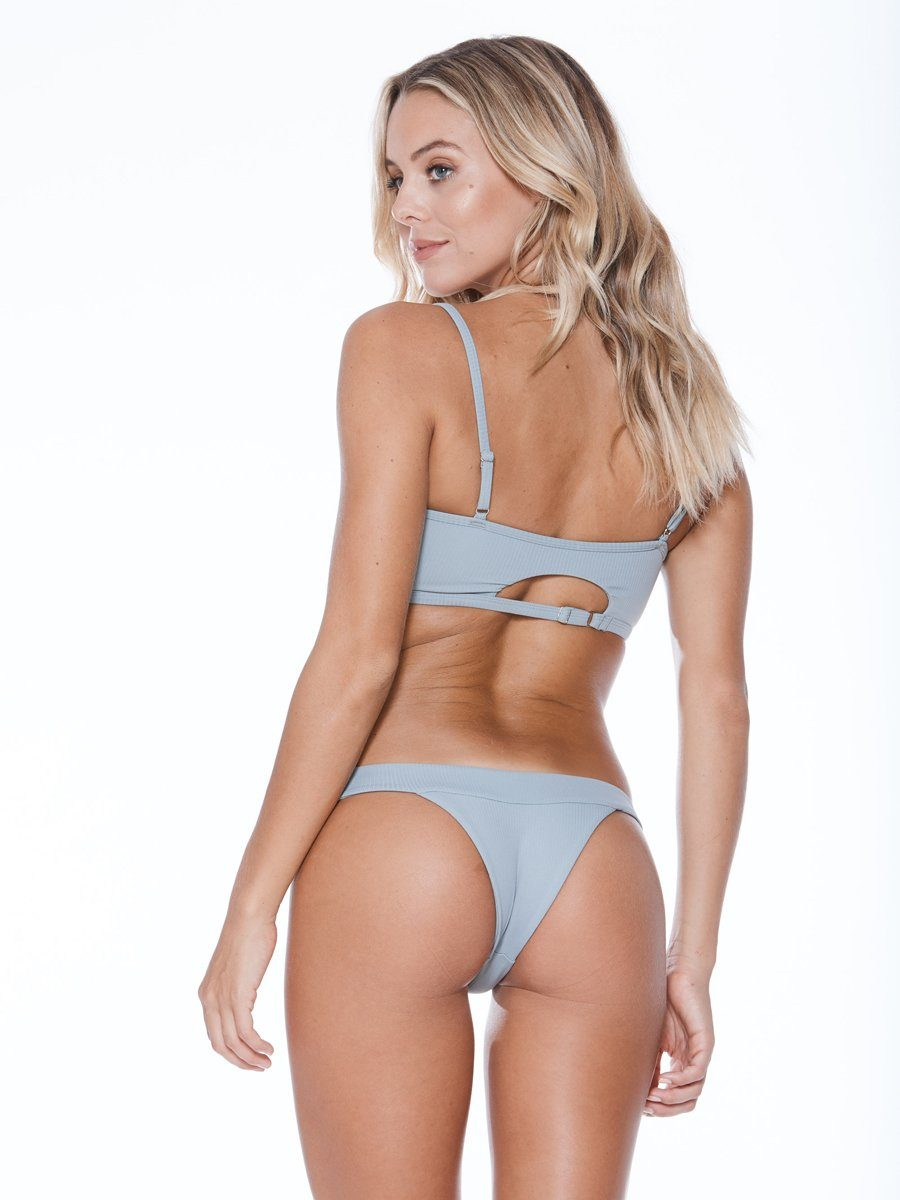Cheeky bikini bottom in grey with a low rise cute and thick bands. Free shipping and easy returns at Crispy Citron