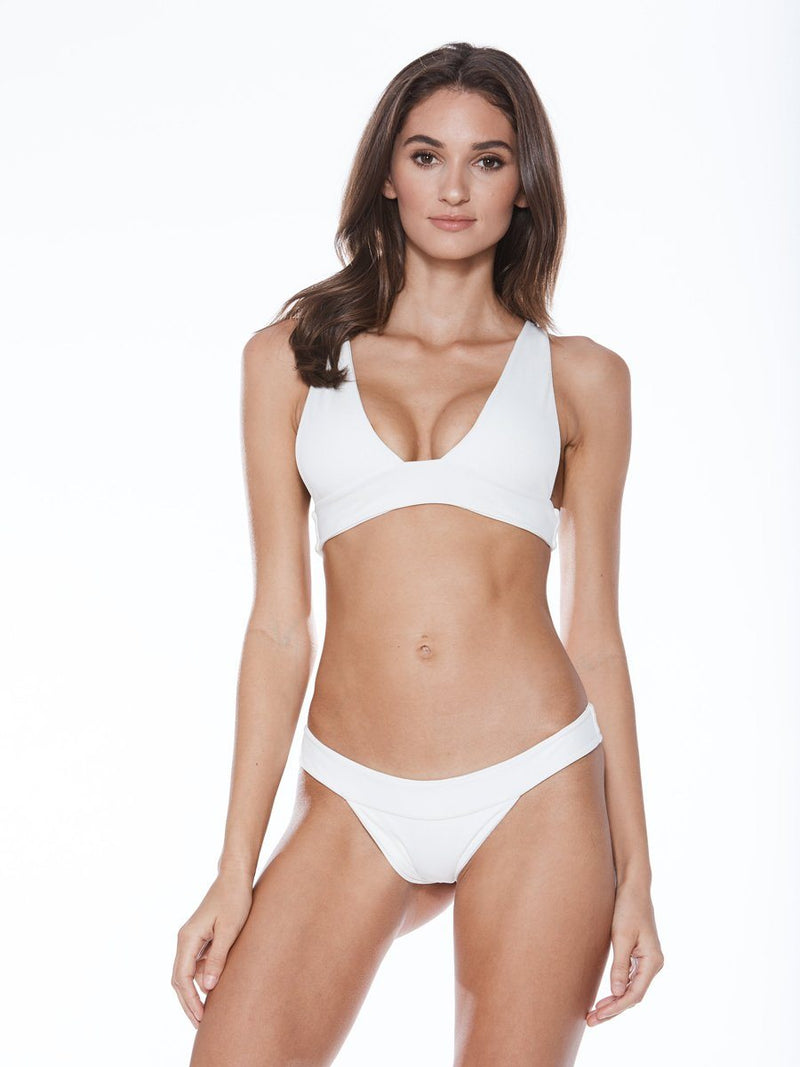 Cheeky bikini bottom in white with a low rise cute and thick bands. Free shipping and easy returns at Crispy Citron