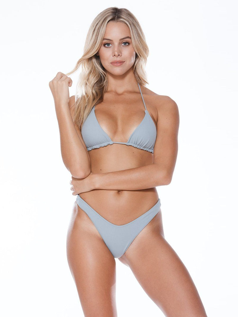 Shop the high tide bikini bottom in grey from Mary Grace Swim at Crispy Citron. Cheeky coverage bikini bottom. Free shipping and easy returns