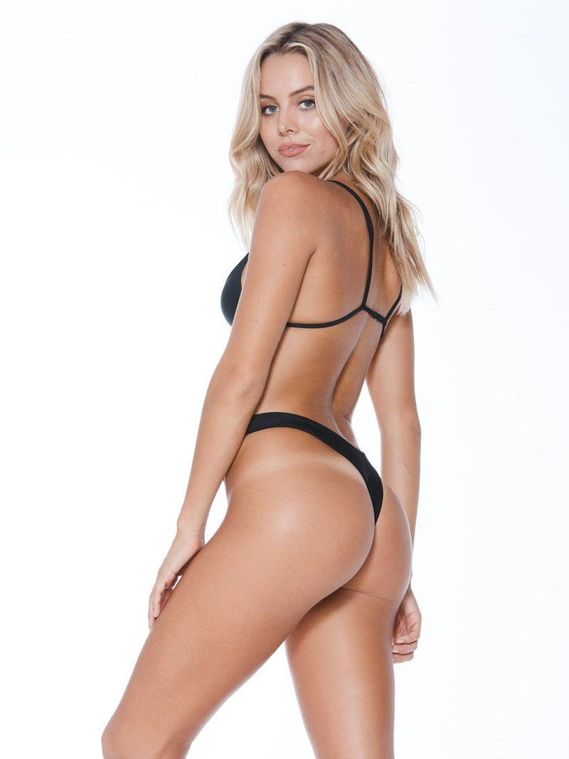 Shop the high tide bikini bottom in black from Mary Grace Swim at Crispy Citron. Cheeky coverage bikini bottom. Free shipping and easy returns