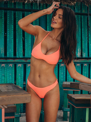 The Trouble in Paradise bikini set in peach from plumeria swimwear. Shop this bikini set with Crispy Citron. We offer free shipping and easy returns when you shop with us