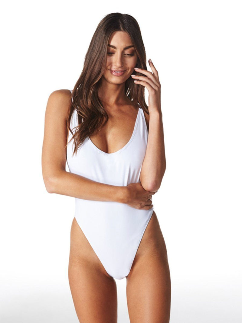 Bo Derek white one piece swimwear by Swm by Lioness. Shop this classic white swimwear with Crispy Citron. Free shipping and easy returns