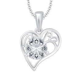 Barcelona Solitaire Heart Pendant with Chain