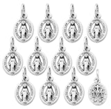 Lot of 12 - Silver Tone Our Lady of Grace Mini Miraculous Medal Pendant - Made in Italy