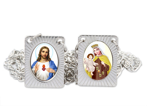 Stainless Steel Catholic Scapular with Medals of Sacred Heart of Jesus and Our Lady of Mt. Carmel - Squared Pendant