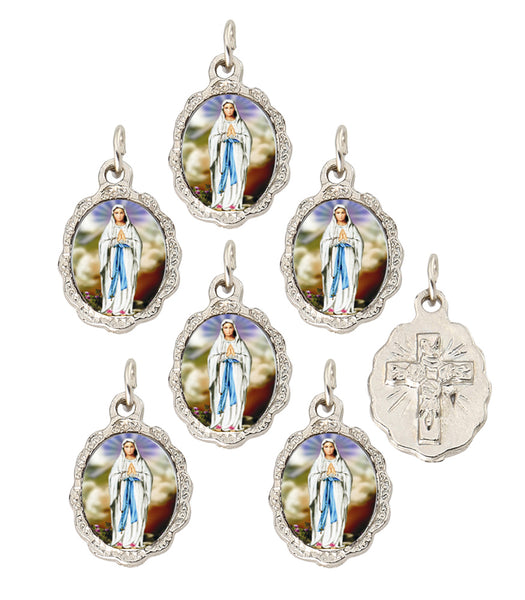Lot of 6 pcs - Our Lady of Lourdes Silver Tone Small Medal Pendant