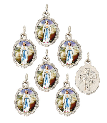 "Lot of 12 - Our Lady of Lourdes Silver Tone Small Medal Pendant - 0.50"" W x 0.75"" L"